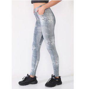 CM Fashion Gray Denim Leggings